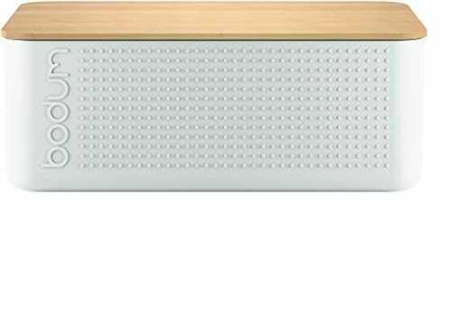 Bodum pudełko na chleb bistro z bambusową deską do krojenia (tworzywo sztuczne bez BPA, łatwe czyszczenie) kremowe