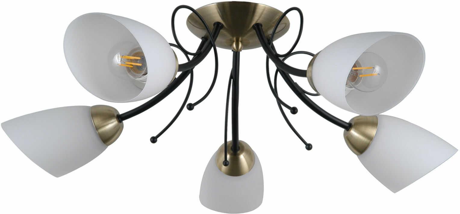 Italux Cristina PND-6706-5 plafon lampa sufitowa stal czarny brąz antyczny klosze szkło biały IP20 58cm E27 5x40W