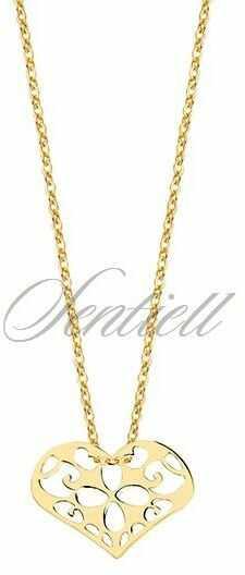 Srebrny naszyjnik pr.925 z zawieszką ażurowym sercem - pozłacany
