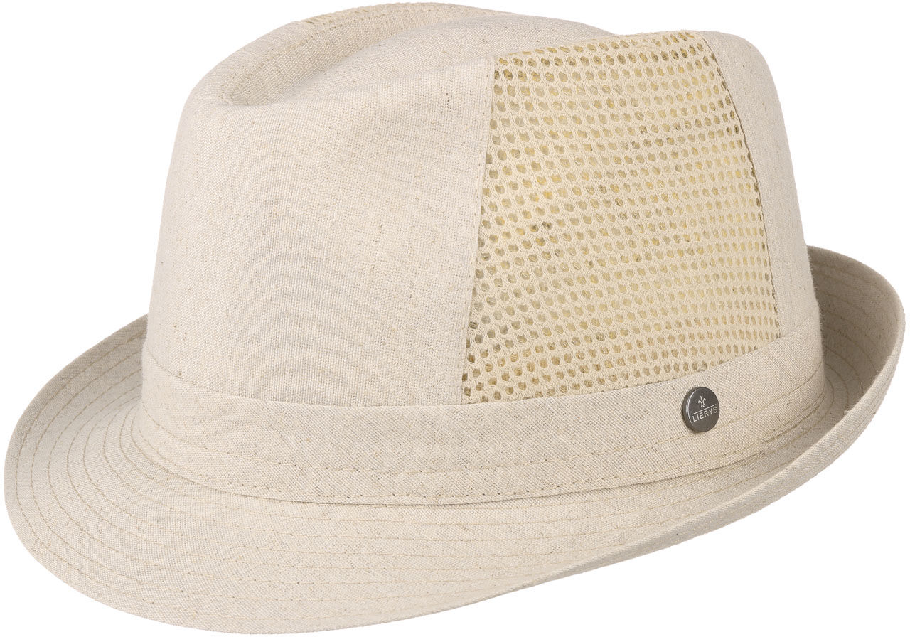 Linen Cotton Trilby with Mesh Sides by Lierys, beżowy, 57 cm
