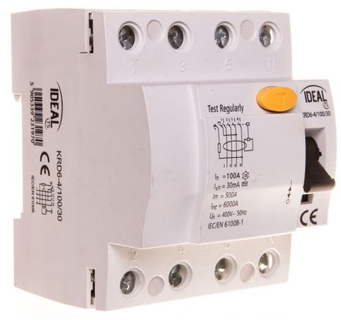 Wyłącznik różnicowoprądowy 4P 100A 0,03A typ AC KRD6-4/100/30 23197