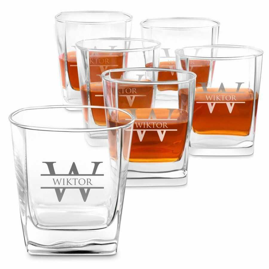 Szklanki grawerowane do whisky x6 komplet dedykacja inicjał dla