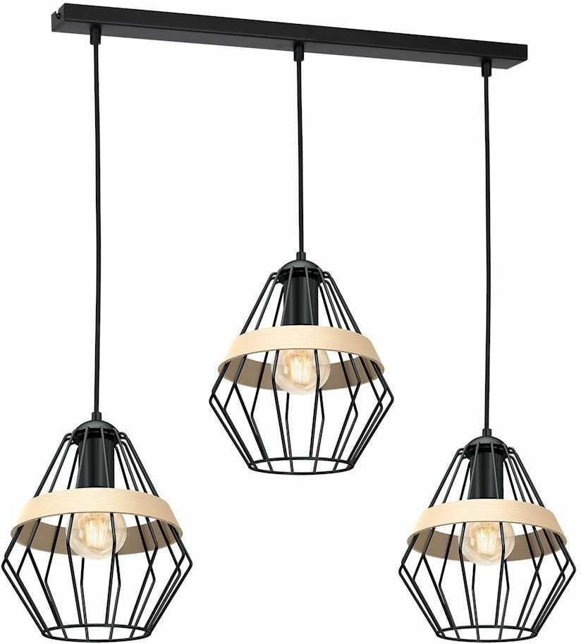 Milagro CLIFF BLACK MLP5525 lampa wisząca metalowa czarna klosz przestrzenny o modnym kształcie eksponującym żarówkę z paskiem 3xE27 90cm