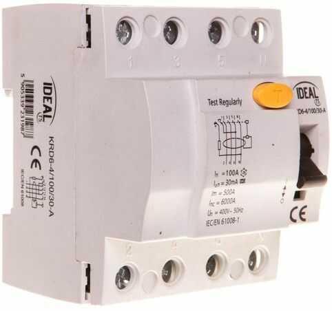 Wyłącznik różnicowoprądowy 4P 100A 0,03A typ A KRD6-4/100/30-A 23198