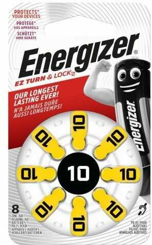 8 x baterie do aparatów słuchowych Energizer 10