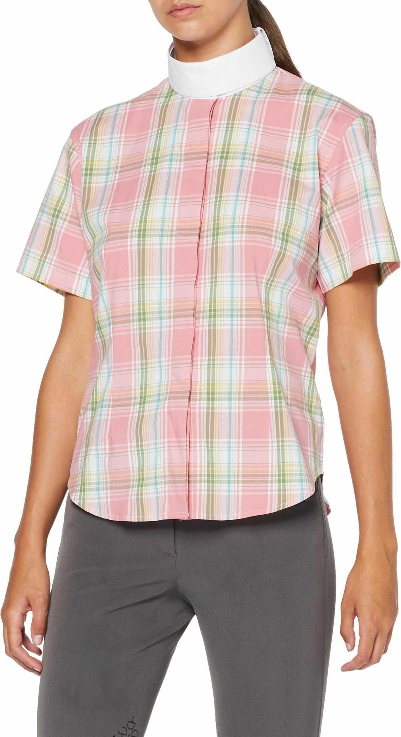 HKM Damska bluzka jeździecko-elastyczna, rękaw 1/4, różowa/biała/zielona w kratkę, XL