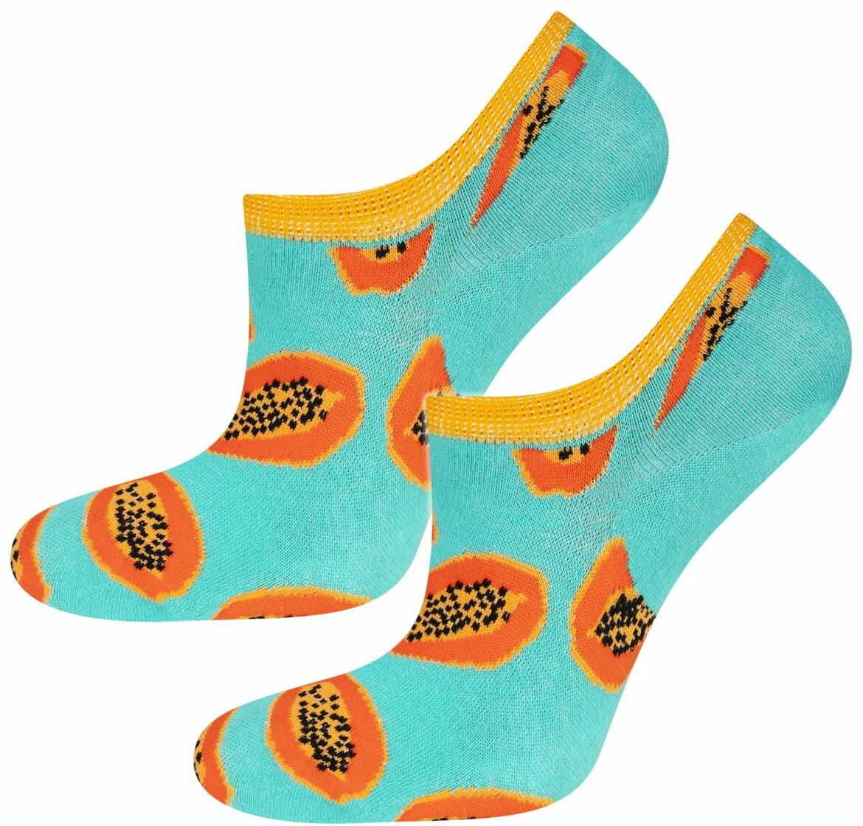 Skarpety damskie SOXO Stopki papaja turkusowe
