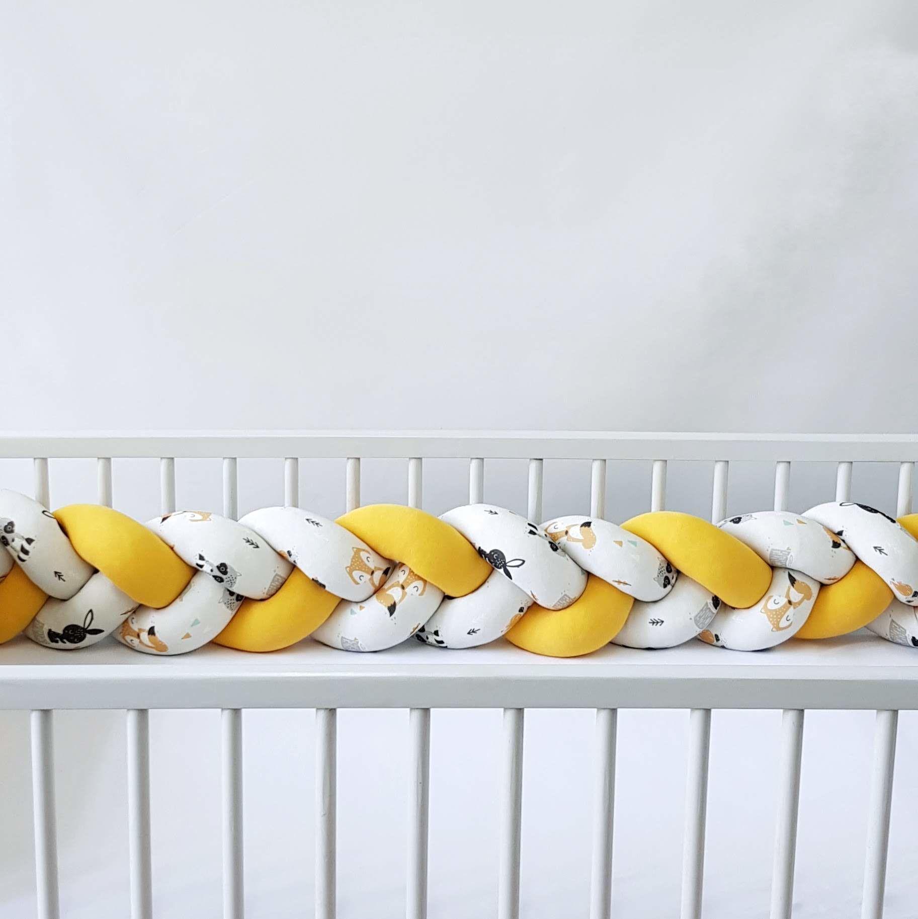 Warkocz do łóżeczka  ochraniacz warkocz pleciony żółty-leśne zwierzaki