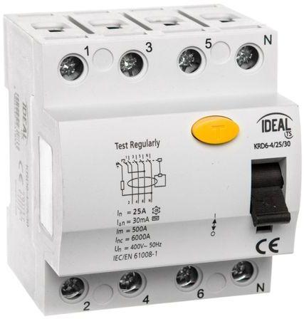 Wyłącznik różnicowoprądowy 4P 25A 0,03A typ AC KRD6-4/25/30 23183