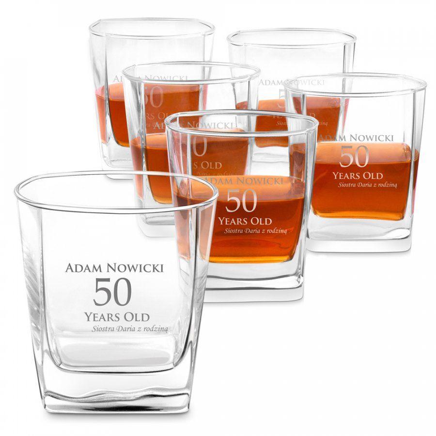 Szklanki grawerowane do whisky x6 komplet dedykacja dla brata na 30