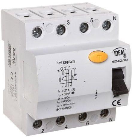 Wyłącznik różnicowoprądowy 4P 25A 0,03A typ A KRD6-4/25/30-A 23191