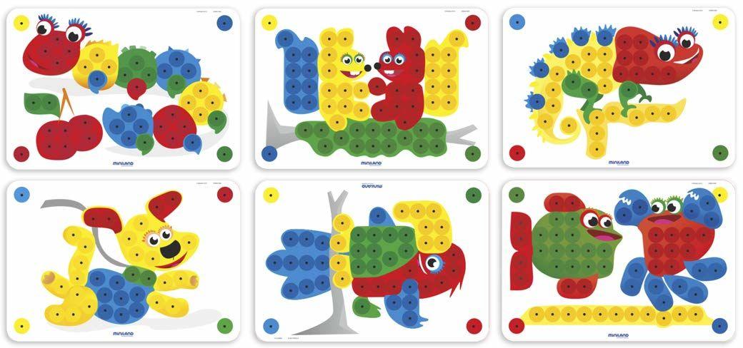 Miniland (ERGUH) 31803 Miniland PEGS 20 mm: 6 sztuk (zwierzęta) gra wzorów, wielokolorowa, 20 mm