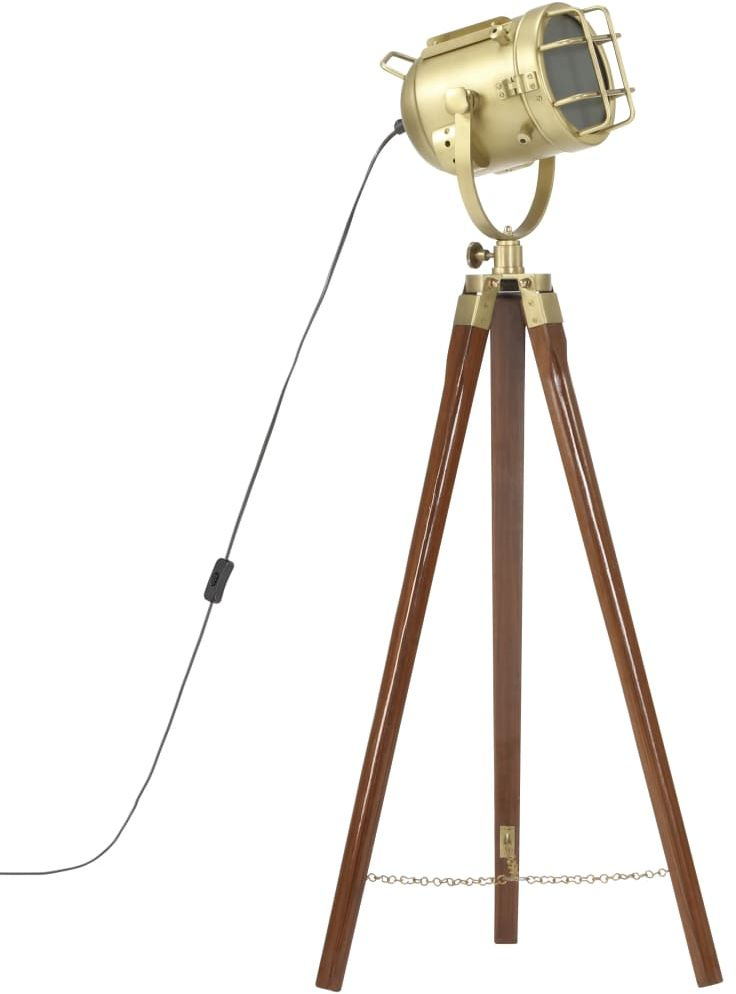 Brązowa lampa stojąca retro z drewna mango - EX191-Savita