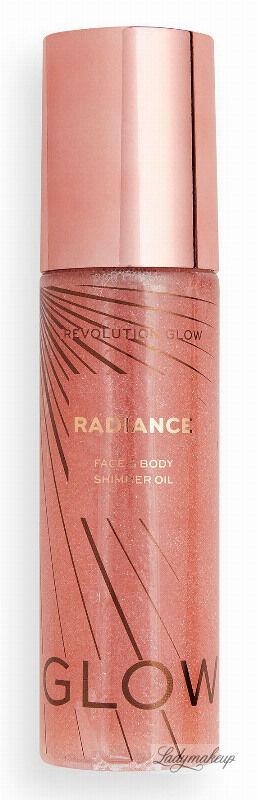 MAKEUP REVOLUTION - GLOW RADIANCE - FACE & BODY SHIMMER OIL - Płynny olejek rozświetlający do ciała i twarzy - Pink - 100 ml