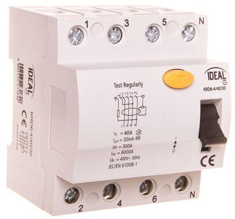 Wyłącznik różnicowoprądowy 4P 40A 0,03A typ AC KRD6-4/40/30 23184