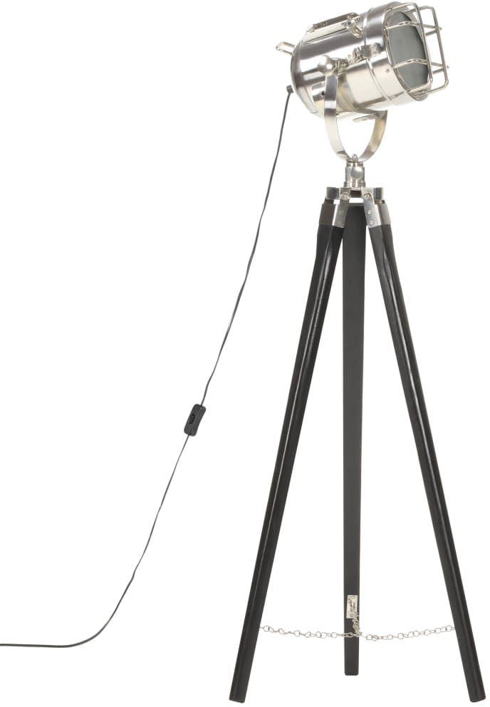 Czarna lampa stojąca retro drewniana - EX191-Savita