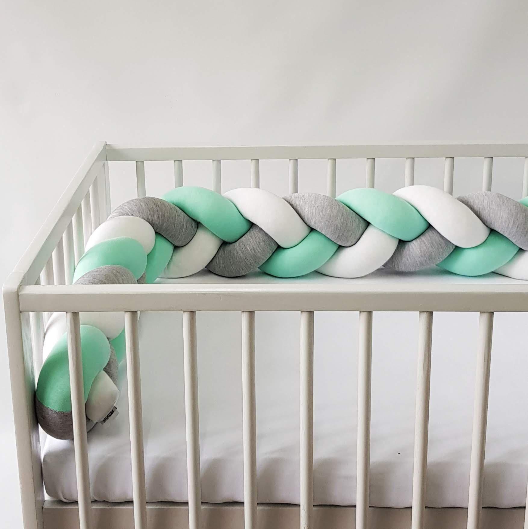 Warkocz do łóżeczka  ochraniacz warkocz pleciony biały-szary-mięta