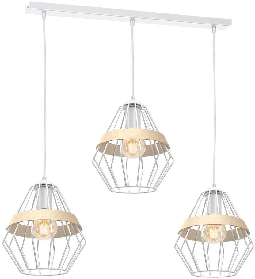 Milagro CLIFF WHITE MLP5519 lampa wisząca metalowa biała klosz przestrzenny o modnym kształcie eksponującym żarówkę z paskiem 3xE27 90cm