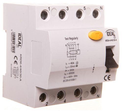 Wyłącznik różnicowoprądowy 4P 40A 0,03A typ A KRD6-4/40/30-A 23192