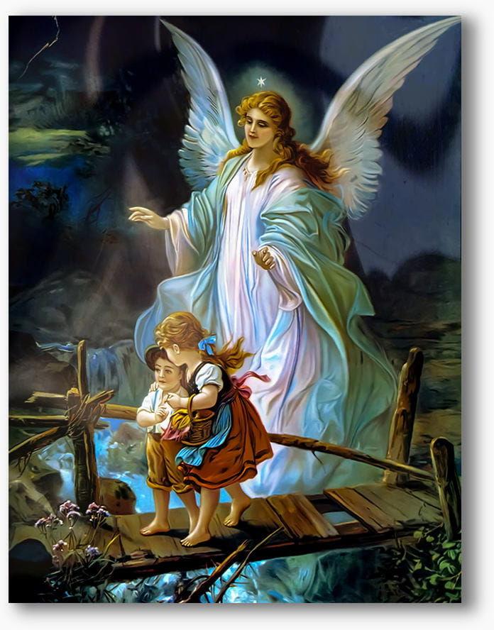 Nowoczesny obraz religijny plexi, Anioł Stróż z dziećmi na mostku