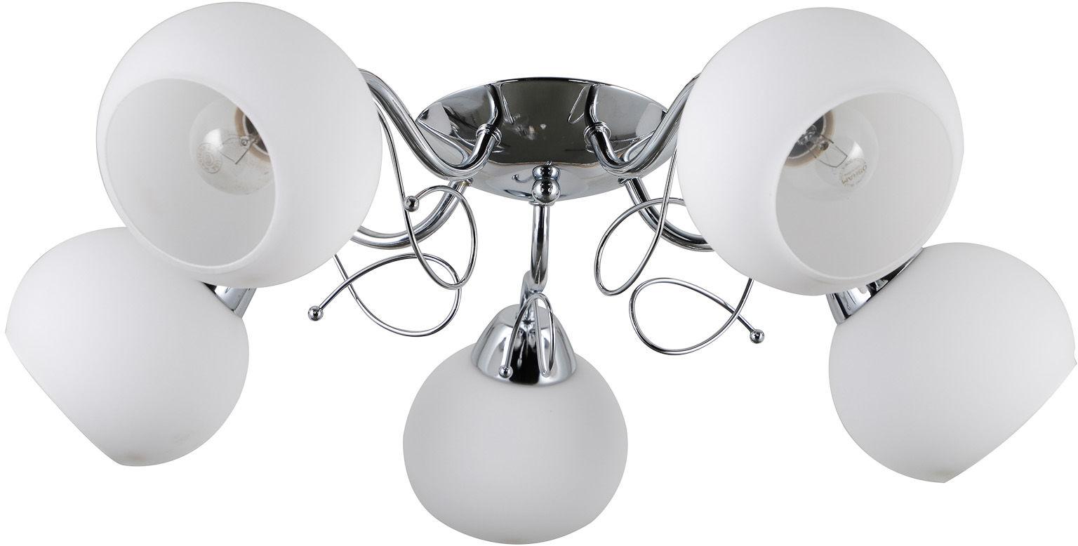 Italux Masseri PND-6895-5 plafon lampa sufitowa stal chrom klosz biały szkło E27 5x40W IP20 58cm