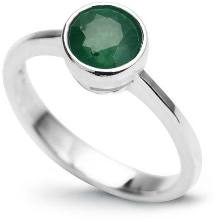 Staviori pierścionek z naturalnym kamieniem szmaragdem, masa 0,80 ct.. srebro rodowane 0,925. certyfikat