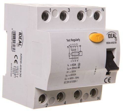 Wyłącznik różnicowoprądowy 4P 63A 0,03A typ AC KRD6-4/63/30 23185