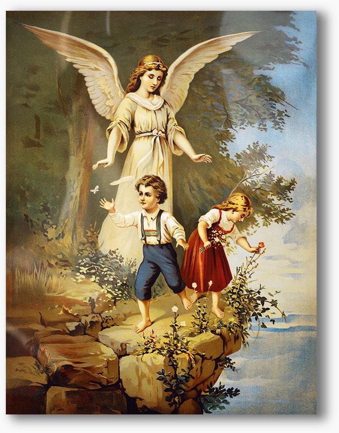 Nowoczesny obraz religijny plexi, Anioł Stróż z dziećmi nad skarpą