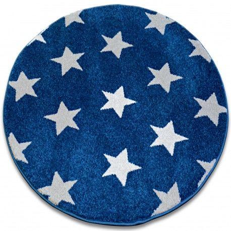 Dywan SKETCH koło - FA68 niebiesko/biały - Gwiazdki Gwiazdy koło 100 cm
