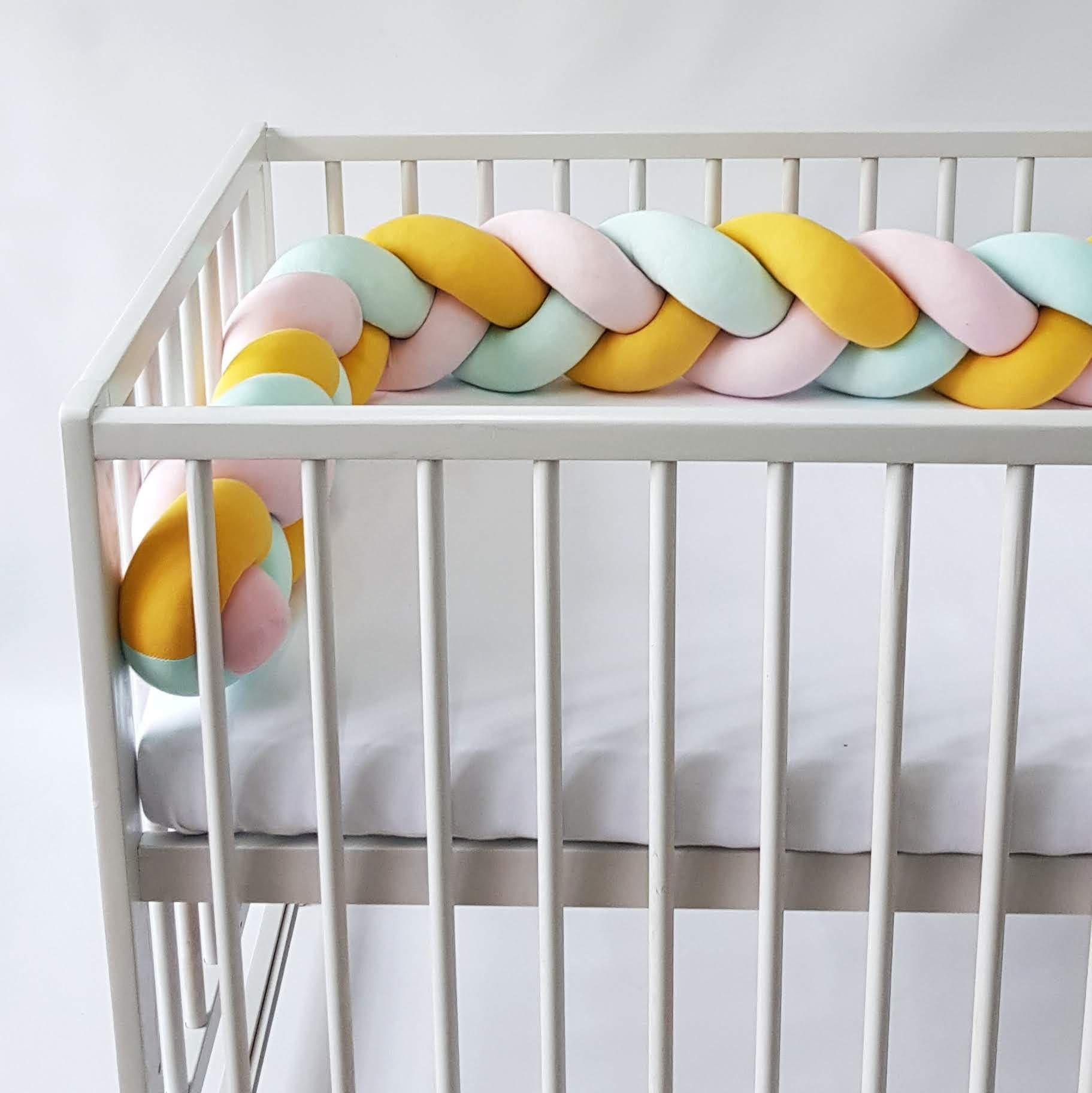 Warkocz do łóżeczka  ochraniacz warkocz pleciony różowy-żółty-miętowy