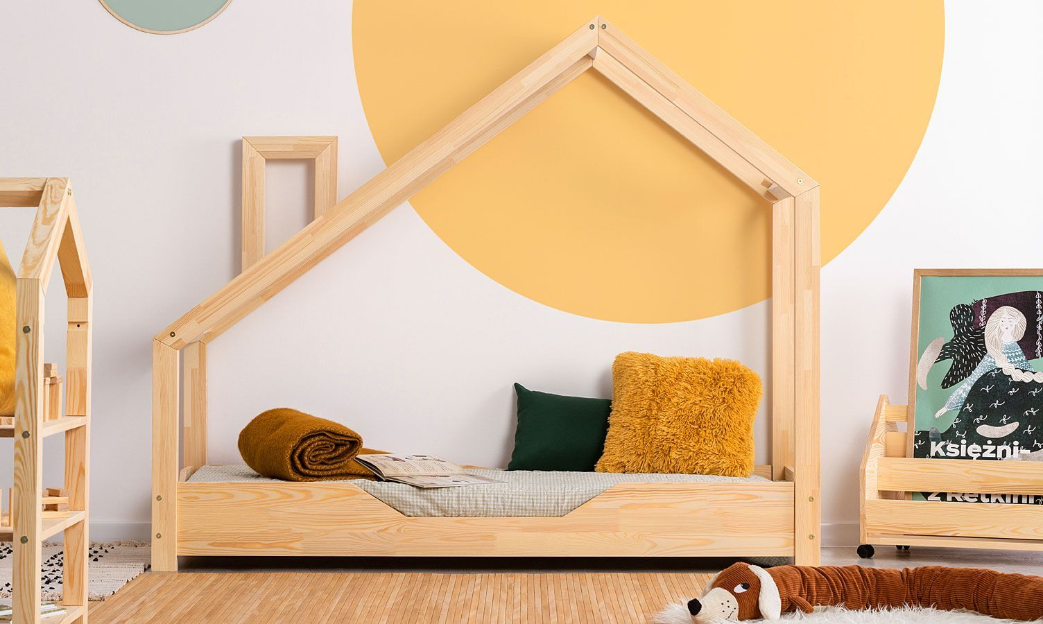 Drewniane łóżko dziecięce domek Lumo 3X - 28 rozmiarów