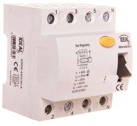 Wyłącznik różnicowoprądowy 4P 63A 0,03A typ A KRD6-4/63/30-A 23193