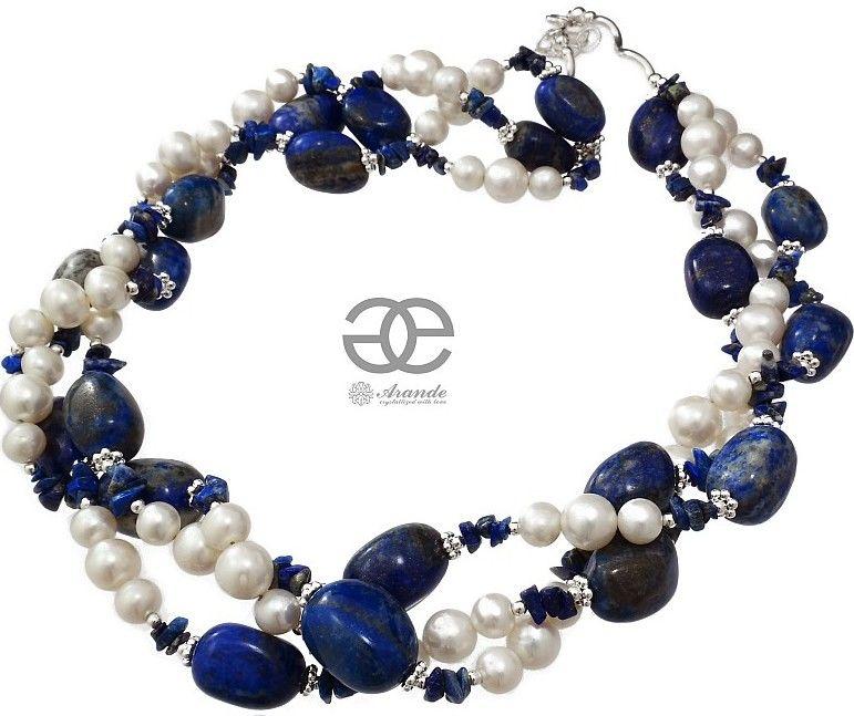 Perły Lapis Lazuli Przepiękny Naszyjnik Srebro Unikat
