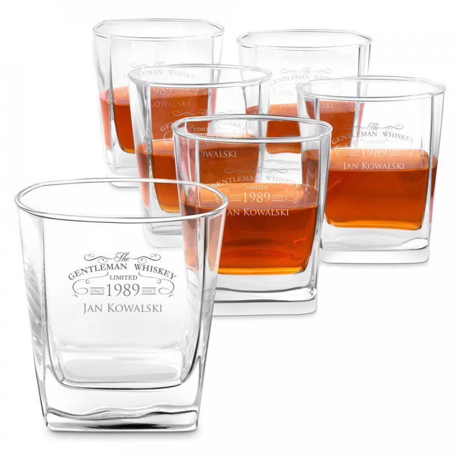 Szklanki grawerowane do whisky x6 komplet dedykacja dla gentlemana