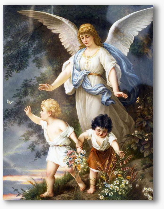 Nowoczesny obraz religijny plexi, Anioł Stróż z dziećmi