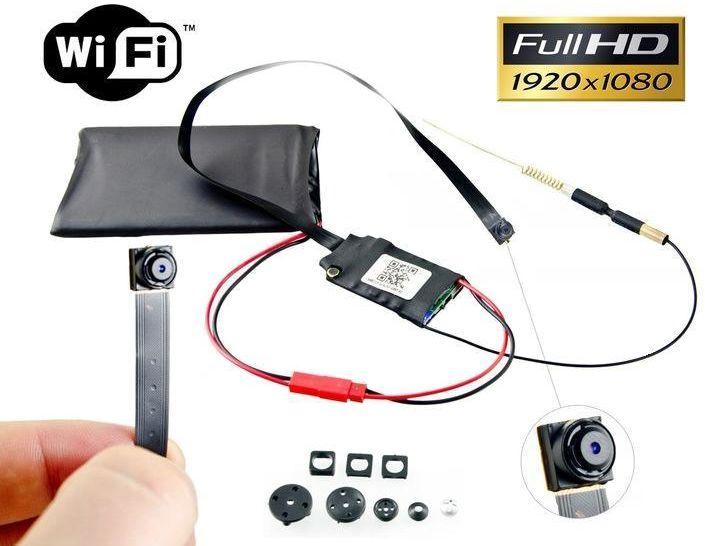 Szpiegowska Mini-Kamera FULL HD (do ukrycia/zabudowy) WiFi/P2P (cały świat!) + Maskownice + Zapis...