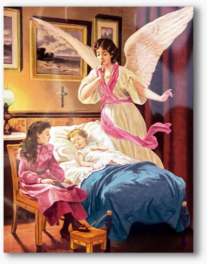 Nowoczesny obraz religijny plexi, Anioł Stróż nad łóżeczkiem