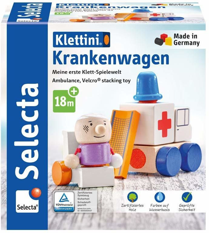 Selecta 62081 Klettini Krankenwagen, zabawka do układania, z drewna, 7 części