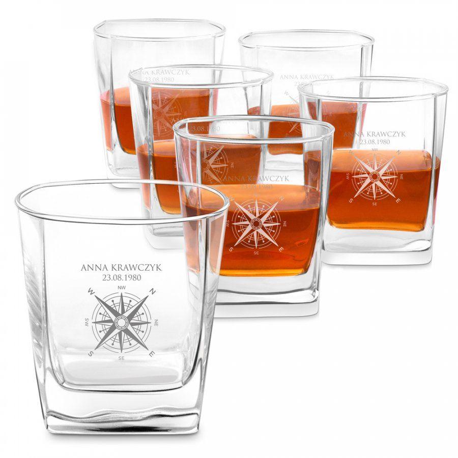Szklanki grawerowane do whisky x6 komplet dedykacja róża wiatrów dla