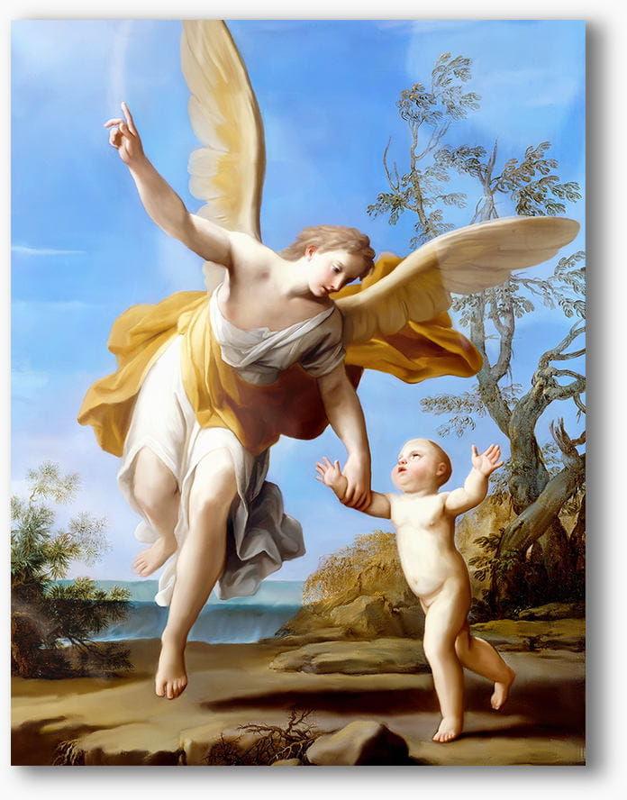 Nowoczesny obraz religijny plexi, Anioł Stróż z dzieckiem