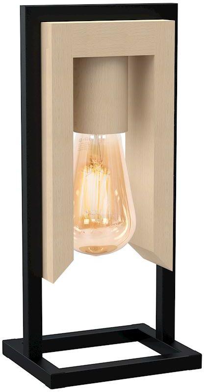 Milagro VINCENZO MLP5421 lampa stołowa czarny metal / drewno 1xE27 30cm
