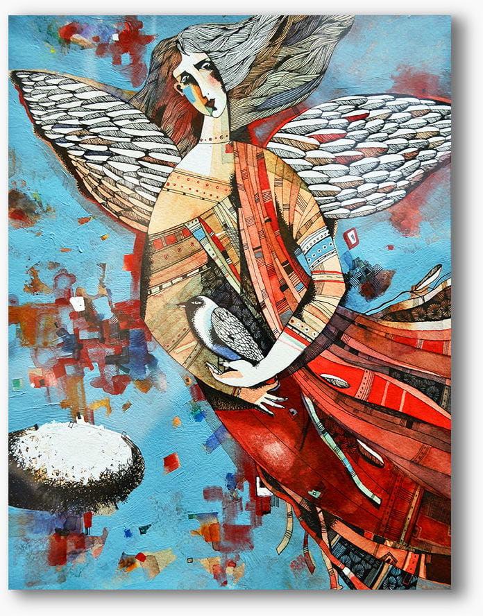 Nowoczesny obraz religijny plexi, Anioł z gołąbkiem, abstrakcja