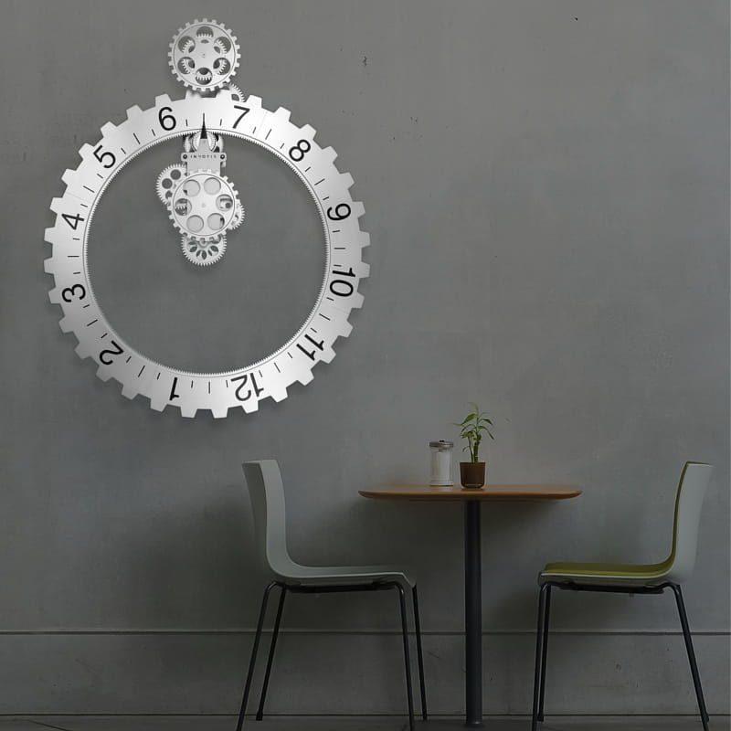 Zegar ścienny Big Hour Wheel srebrny