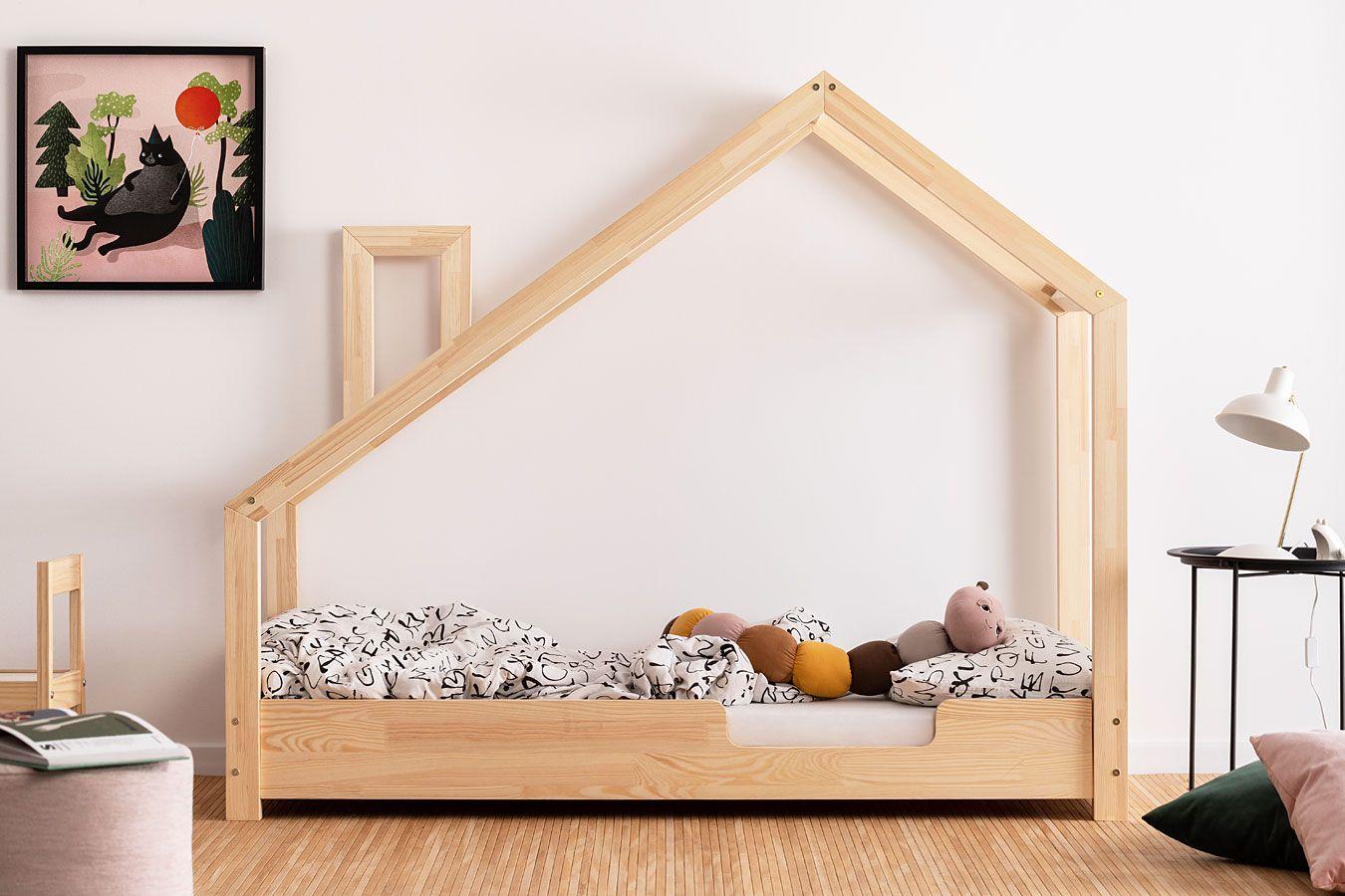 Drewniane łóżko dziecięce domek Lumo 4X - 28 rozmiarów