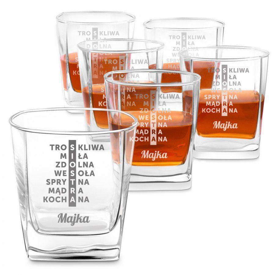 Szklanki grawerowane do whisky x6 komplet dedykacja dla siostry
