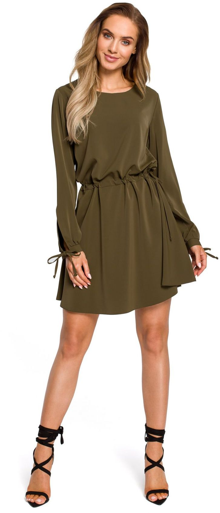 M426 Sukienka z rozciętymi rękawami - khaki