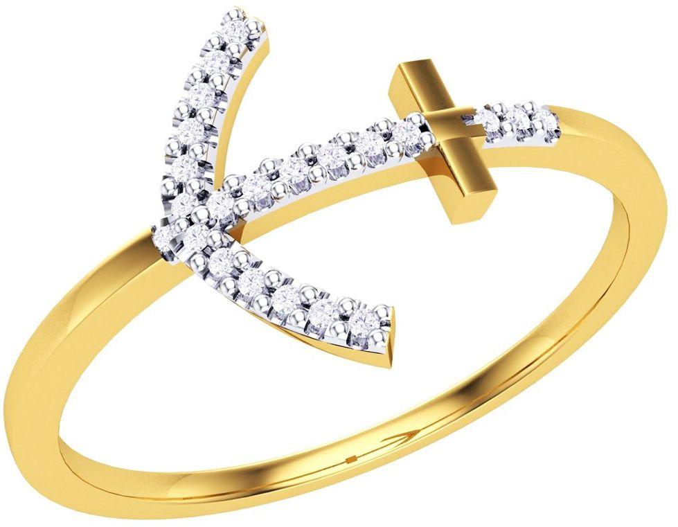 Złoty Pierścionek 375 Kotwica z Diamentami