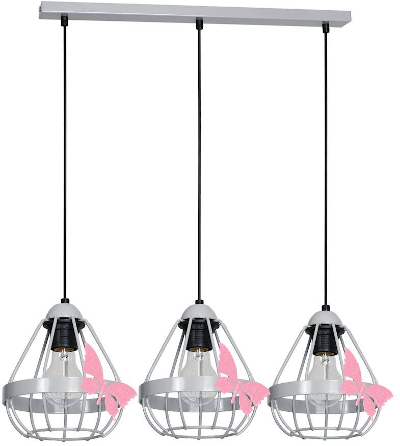 Milagro KAGO GRAY MLP4933 lampa wisząca szara metal klosze ze świecznikowymi uchwytami motyl 3xE27 70cm