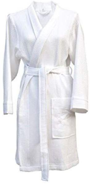 Heckett Lane Szlafrok kąpielowy 100% bawełna pika waflowa krótki XL biały