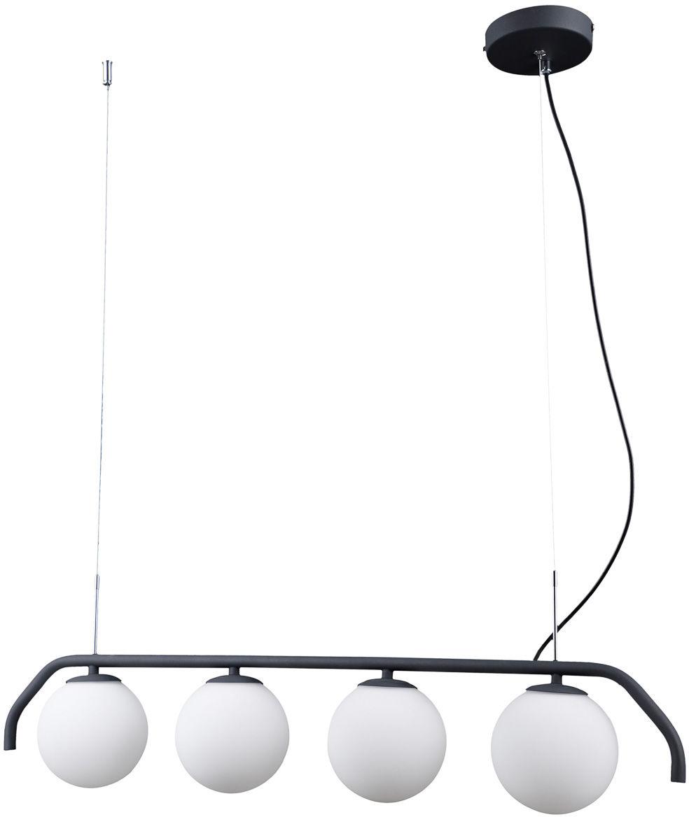 Italux Carimi PND-3300-4-BK lampa wisząca nowoczesna stalowa grafitowa klosz szkło kula biały 90cm IP20 G9 4x5W